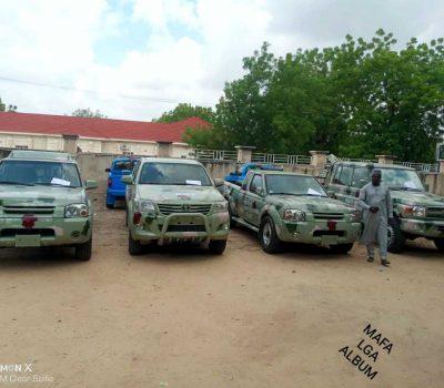 Mafa L.G. Secretary, Mohammed Lawan Sheriff, Alongside Member Representing the Area, Hon. Baba Ali Modu, Presented Operational Vehicles to Nigerian Army Mafa